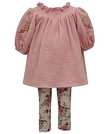 Baby Girls Smocked Embroidered Gauze 2 Piece Set