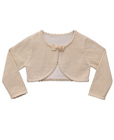 Baby Girls Lurex Bow Neckline Cardigan