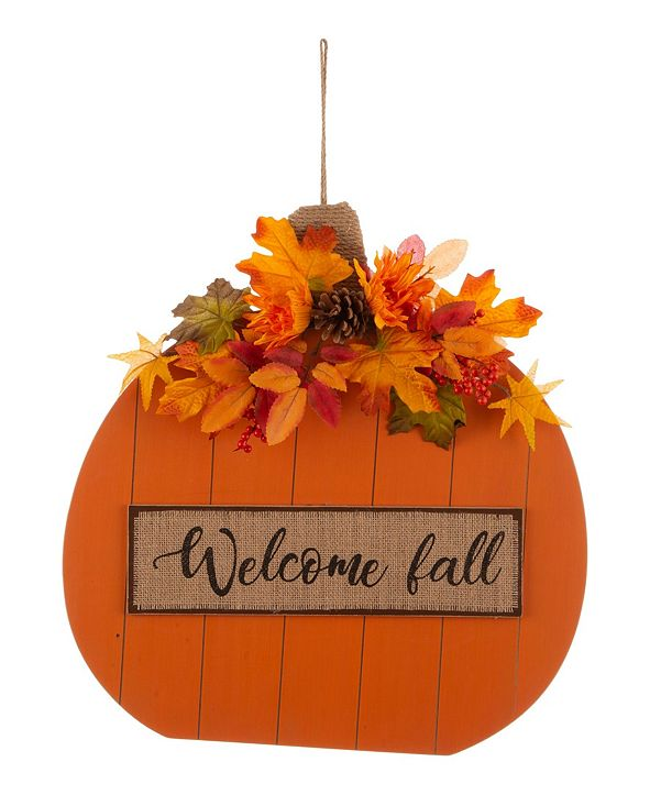 "Glitzhome 20.28"" Fall Wooden Pumpkin with Floral Standing and Hanging Decor Two Function"
