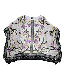 Parker Petals Mixed-Print Poncho, Created for Macy's
