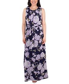 Petite Floral-Print Belted Dress