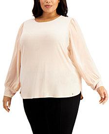Calvin Klein Plus Size Sheer-Sleeve Top
