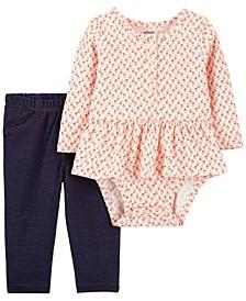 Baby Girl 2-Piece Floral Peplum Bodysuit Pant Set