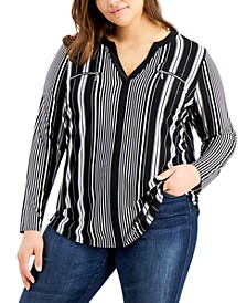 INC Plus Size Striped Zip-Pocket Top, Created for Macy's