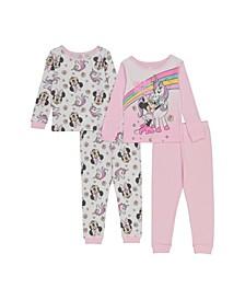 Minnie Mouse Toddler Girls 4-Piece Pajama Set