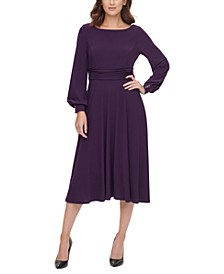 Ruched-Waist Balloon-Sleeve Dress