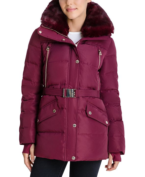 Michael Kors Belted Faux-Fur-Trim Hooded Down Puffer Coat, Created for Macy's