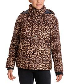 Leopard-Print Hooded Puffer Coat