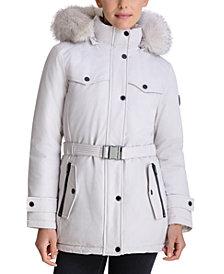 Michael Michael Kors Belted Faux-Fur-Trim Hooded Down Puffer Coat