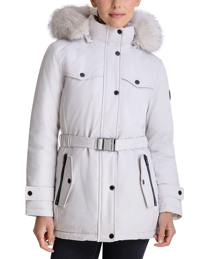 Michael Kors - Belted Faux-Fur-Trim Hooded Puffer Coat