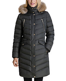 Michael Michael Kors Faux-Fur Trim Hooded Down Coat, Created for Macy's