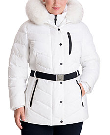 Michael Michael Kors Plus Size Belted Faux-Fur Trim Hooded Puffer Coat