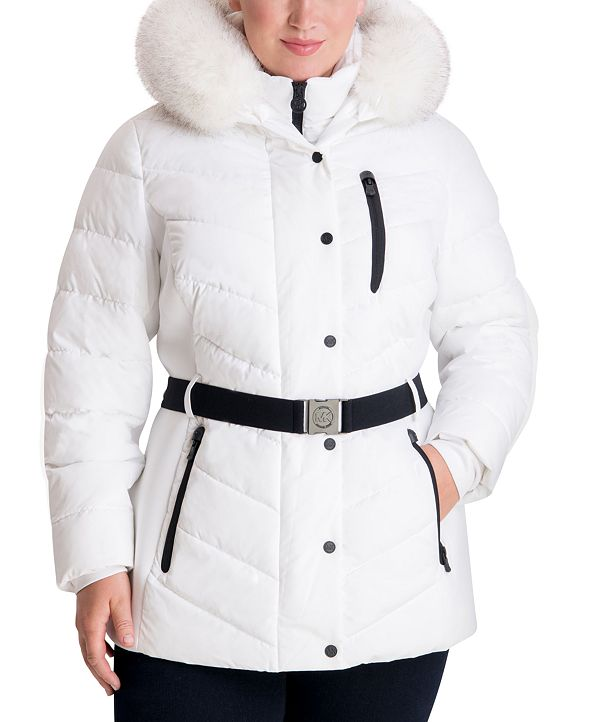Michael Kors Plus Size Belted Faux-Fur Trim Hooded Puffer Coat