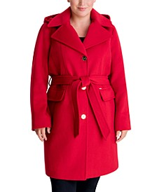 Plus Size Belted Hooded Wrap Coat, Created for Macy's