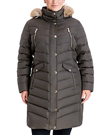 Michael Michael Kors Plus Size Faux-Fur-Trim Hooded Puffer Coat
