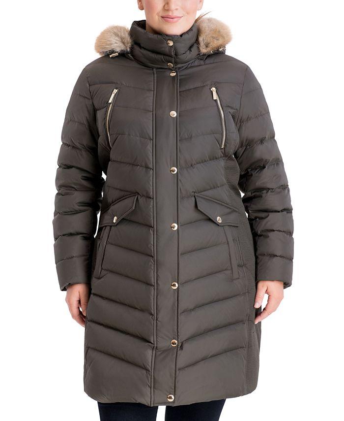Michael Kors - Plus Size Faux-Fur-Trim Hooded Puffer Coat