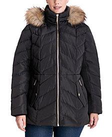 Michael Michael Kors Plus Size Faux-Fur Trim Hooded Puffer Coat, Created for Macy's