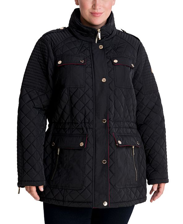 Michael Kors Plus Size Hooded Quilted Coat