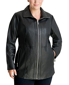 Plus Size Zip-Front Leather Moto Jacket, Created for Macy's
