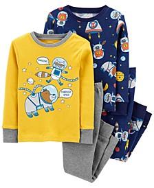 Toddler Boy 4-Piece Space Snug Fit Cotton PJs