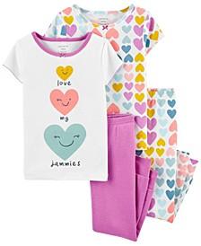 Toddler Girl 4-Piece Heart Snug Fit Cotton PJs