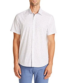Tallia Men's Slim-Fit Stretch White Dot Short Sleeve Shirt and a Free Face Mask With Purchase