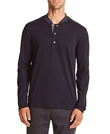 Tallia Men's Slim-Fit Black Long Sleeve Henley and a Free Face Mask With Purchase