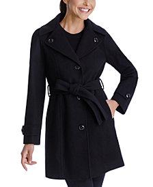 London Fog Single-Breasted Belted Hooded Walker Coat