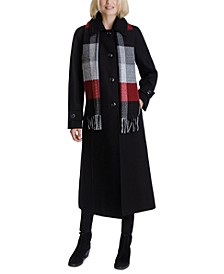 Plaid-Scarf Maxi Coat