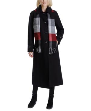 Maxi Coat & Plaid Scarf