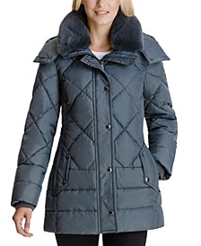 Faux-Fur-Collar Hooded Puffer Coat