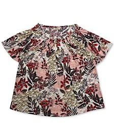 Plus Size Floral-Print Pleat-Neck Top, Created for Macy's