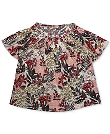 Style & Co Plus Size Floral-Print Pleat-Neck Top, Created for Macy's
