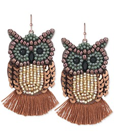 INC Gold-Tone Bead & Stone Owl Drop Earrings, Created for Macy's