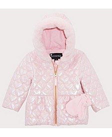 Rothschild Baby Girls Irridescent Quitled Heart Jacket With Mittens