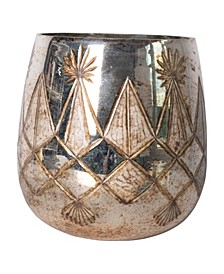 """7.5"""" Etched Mercury Glass Tealight Candleholder"""