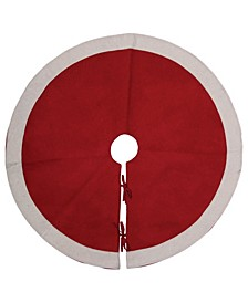 Wool Felt Tree Skirt with White Trim Tie Closures