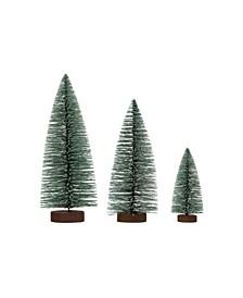 Bottle Brush Trees with Glitter on Wood Base Set of 3 Sizes
