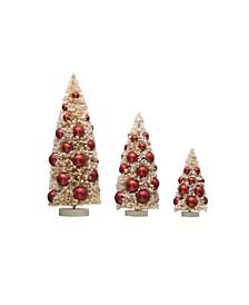 Bottle Brush Trees with Ornaments on Wood Bases Set of 3 Sizes