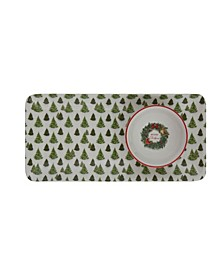 "Rectangle Ceramic Serving Platter with Christmas Trees Small Serving Bowl with Wreath ""Merry Christmas"" Set of 2 Pieces"
