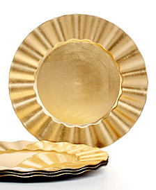 Jay Imports Chargers, Ruffled  Set of 4 Gold Charger  Plates