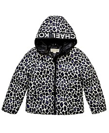 Big Girls Leopard Print Puffer Jacket
