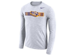 Nike Men's Lsu Tigers Dri-Fit Cotton Slub Long Sleeve T-Shirt