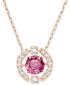 "Rose Gold-Tone Dancing Crystal Pendant Necklace, 14-7/8"" + 2"" extender"
