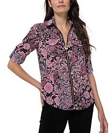 Paisley-Print Zippered Top, Regular & Petite Sizes