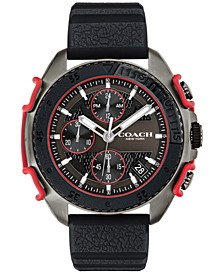 Men's C001 Black Silicone Strap Watch 45mm