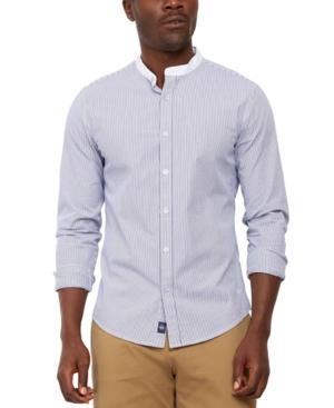 1920s Style Men's Shirts | Peaky Blinders Shirts and Collars Dockers Mens Regular-Fit Supreme Flex Performance Stretch Stripe Band-Collar Shirt $39.75 AT vintagedancer.com