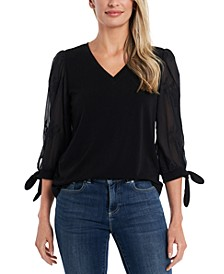Lace-Trim Sheer-Sleeve Top
