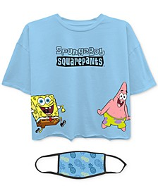 Juniors' SpongeBob SquarePants T-Shirt & Face Mask