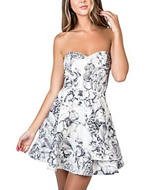 Juniors' Strapless Ruffled A-Line Dress